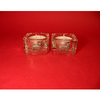 Corgi Dog Motif On Square Glass Tea Light Holders Xmas Gift