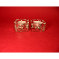 Dachshund Motif On Square Glass Tea Light Holders Xmas Gift