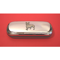 French Bulldog Motif Chrome Glasses Case