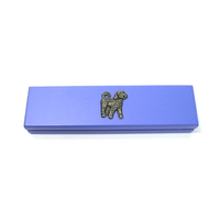 Cockapoo Dog Motif on Violet Blue Wooden Pen Box with 2 Pens