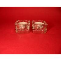English Bull Terrier Motif On Square Glass Tea Light Holders