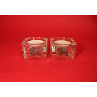 Cocker Spaniel Motif On Square Glass Tea Light Holders Xmas Gift