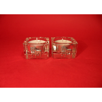 English Bulldog Motif On Square Glass Tea Light Holders Gift