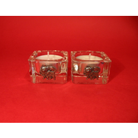 Chihuahua Motif On Square Glass Tea Light Holders Xmas Gift