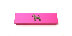 Airdale Terrier Motif on Pink Wooden Pen Box with 2 Pens